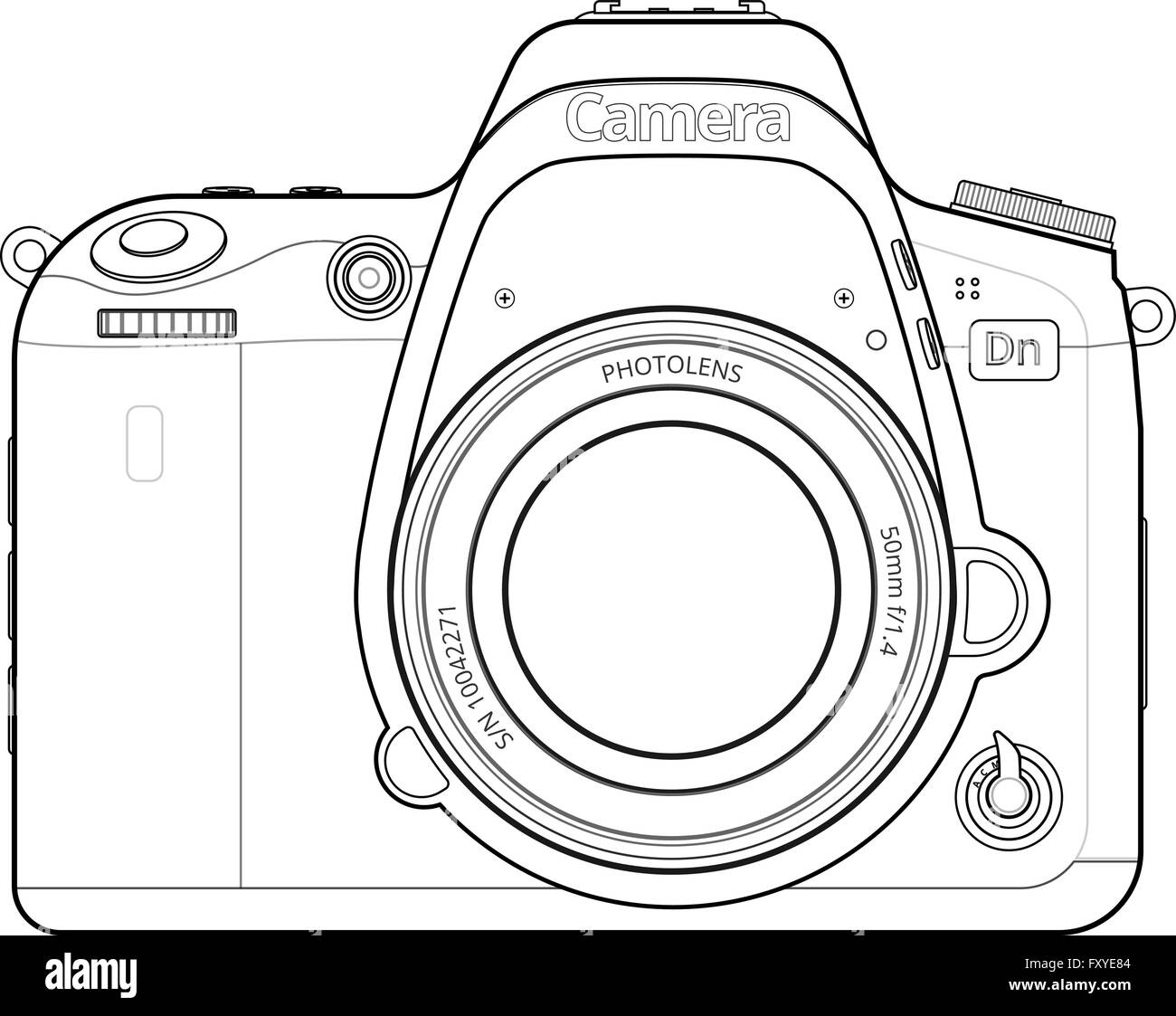 DSLR Camera Outline Stock Vector Art & Illustration ...