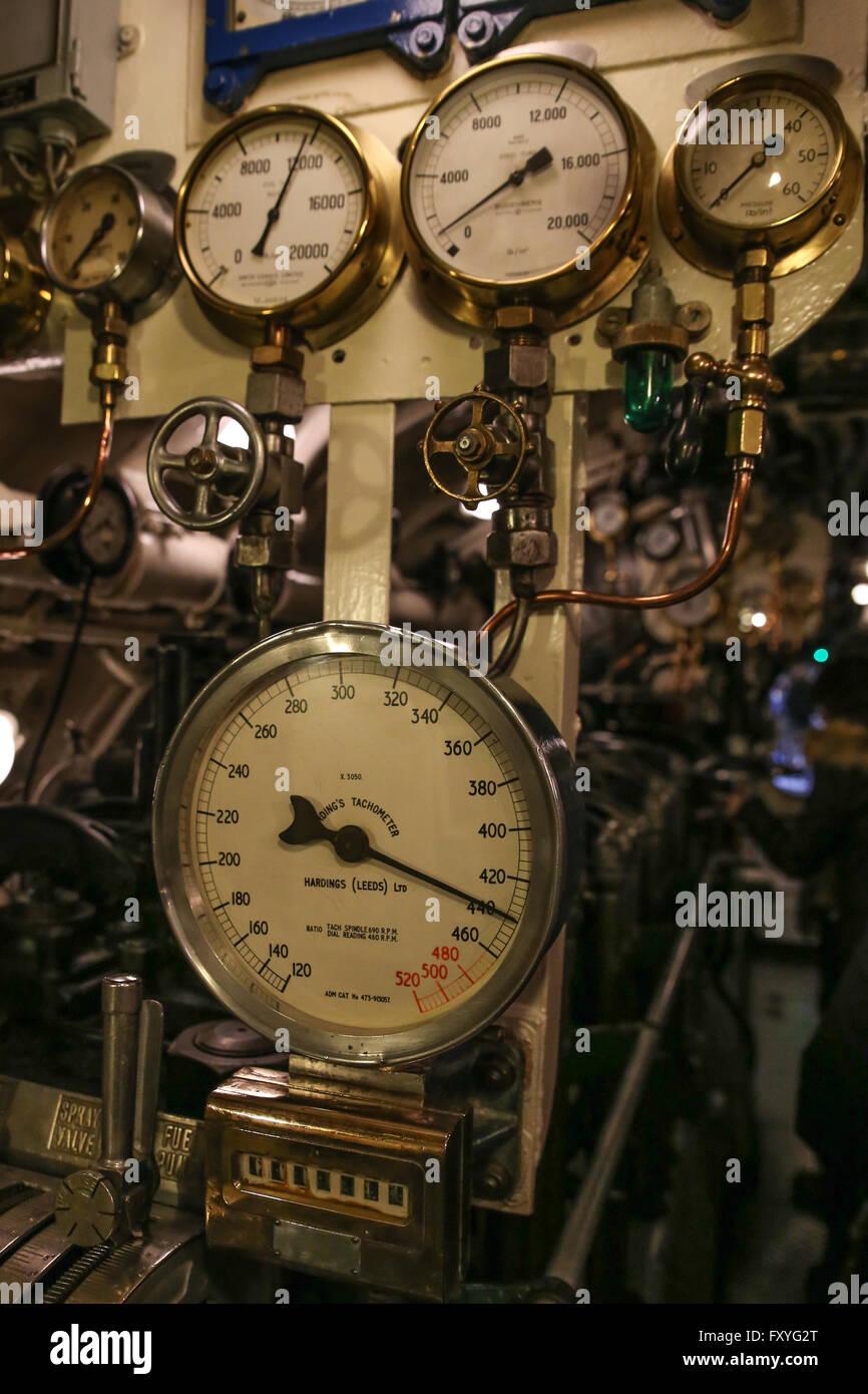 Submarine control wheels and gauges. - Stock Image