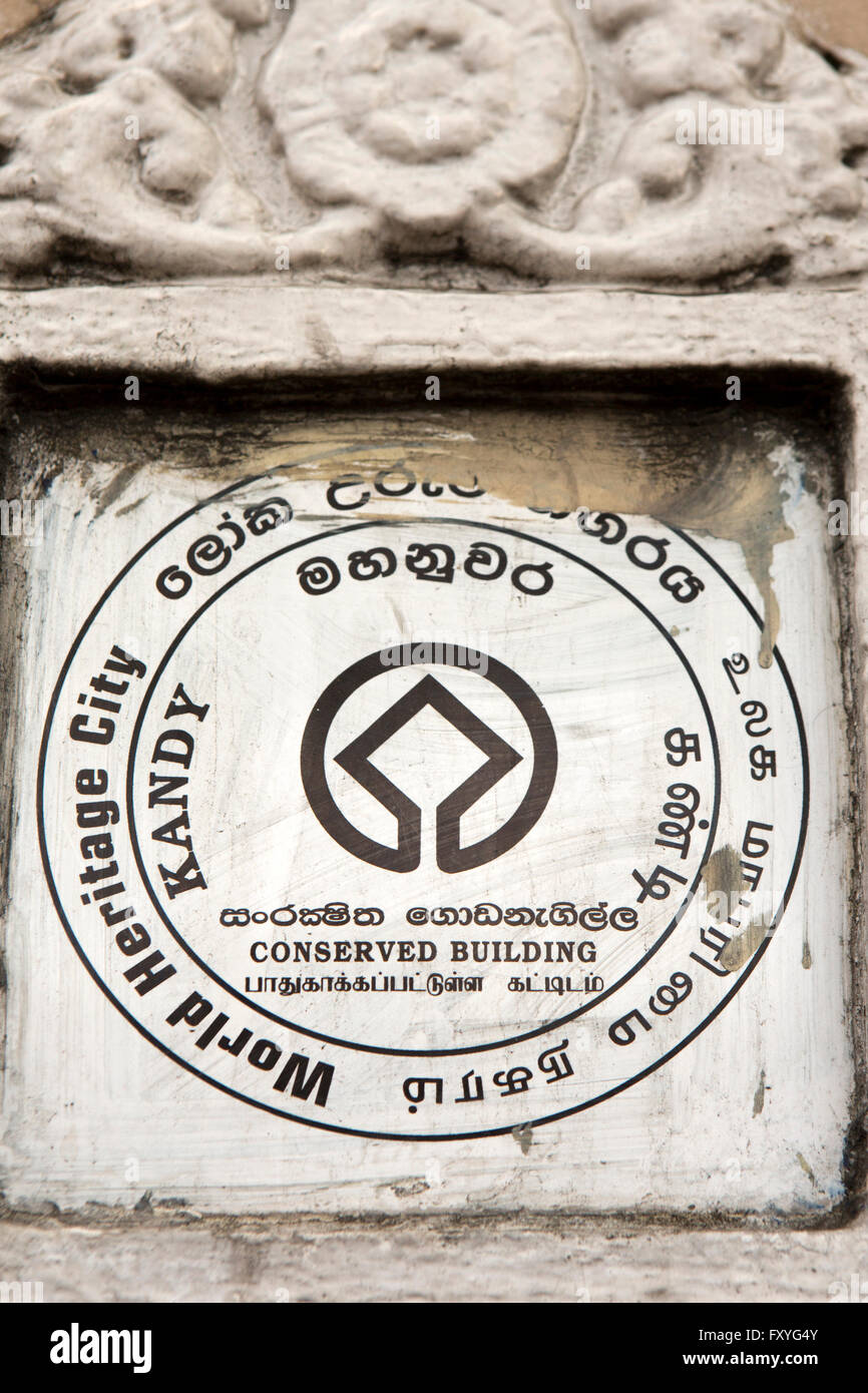 Sri Lanka, Kandy, World Heritage City, conserved building plaque on building Stock Photo