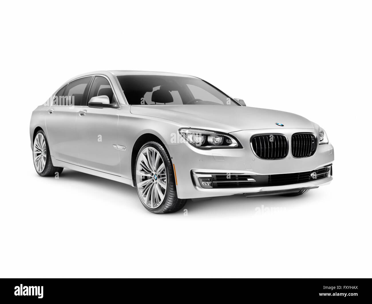 2015 BMW 7 series 750Li, silver, luxury car - Stock Image