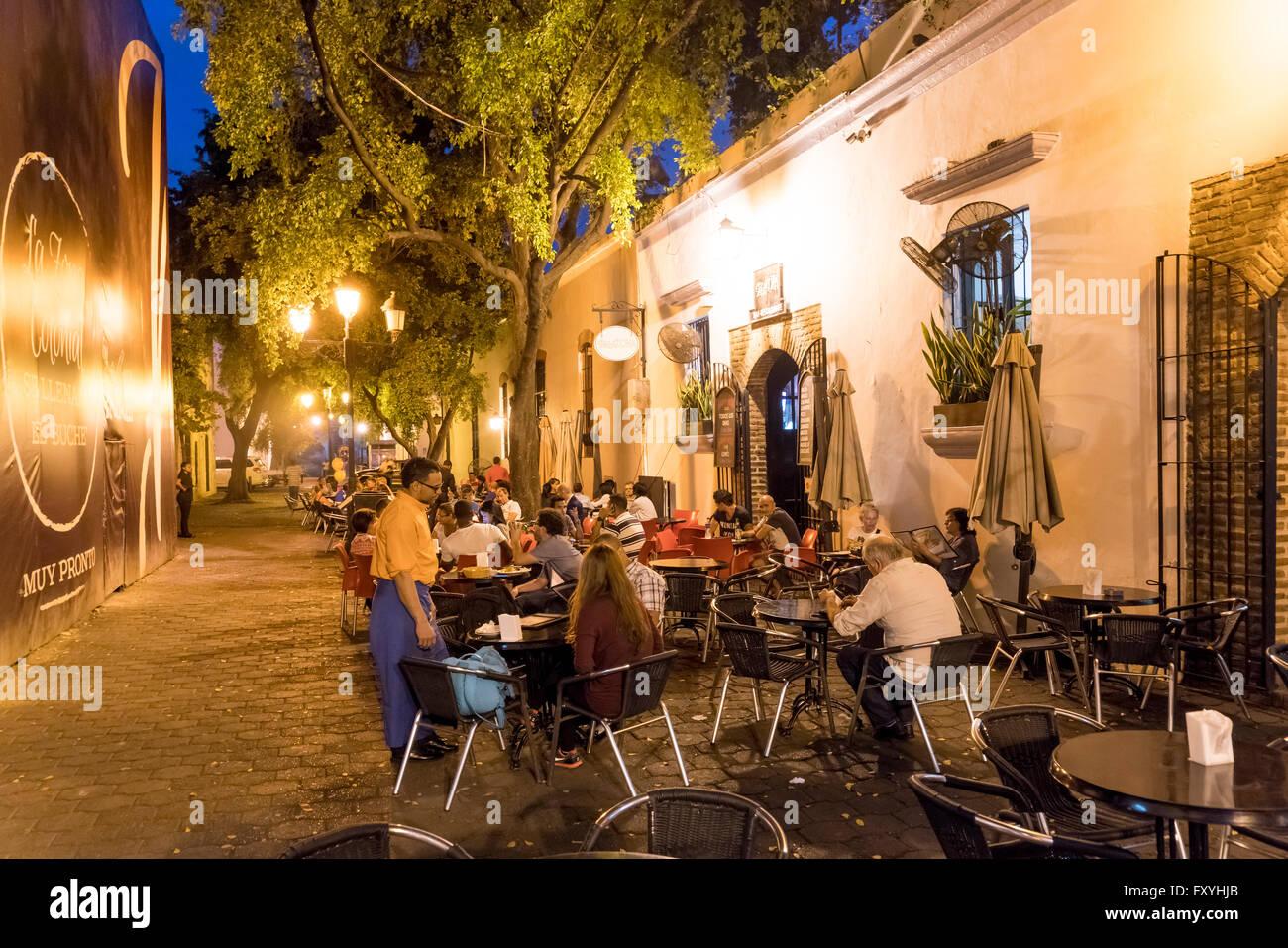 Sidewalk cafe SegaZona in the Zona Colonial old town, Santo Domingo, Dominican Republic Stock Photo