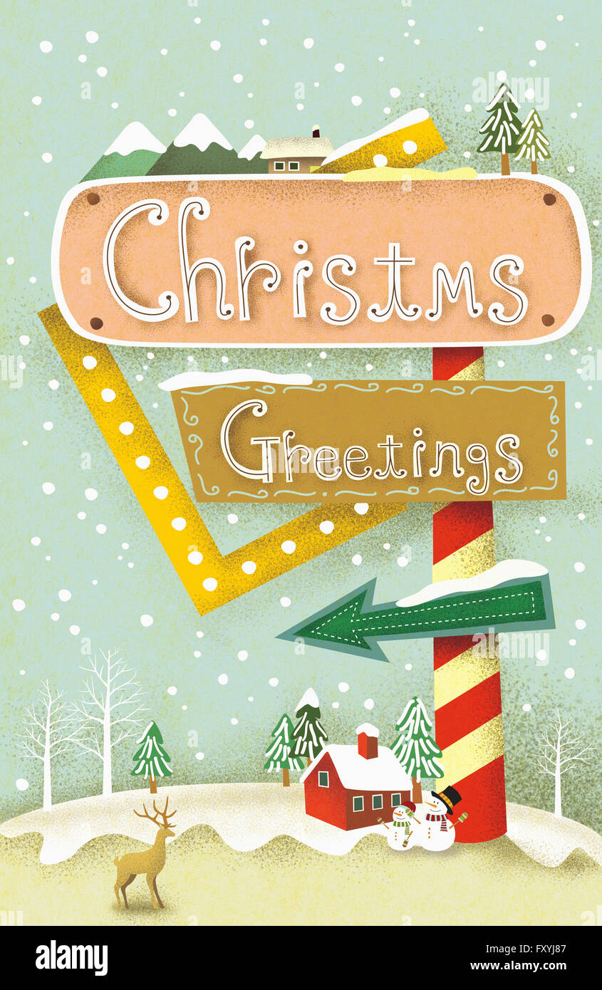 Christmas Greetings Message.Vintage Background Of Christmas With Message Of Christmas
