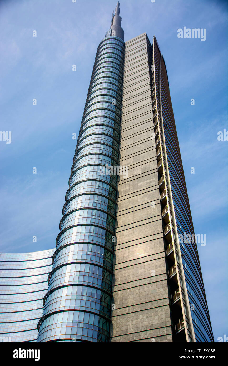 Modern building from below against of blue sky - Stock Image