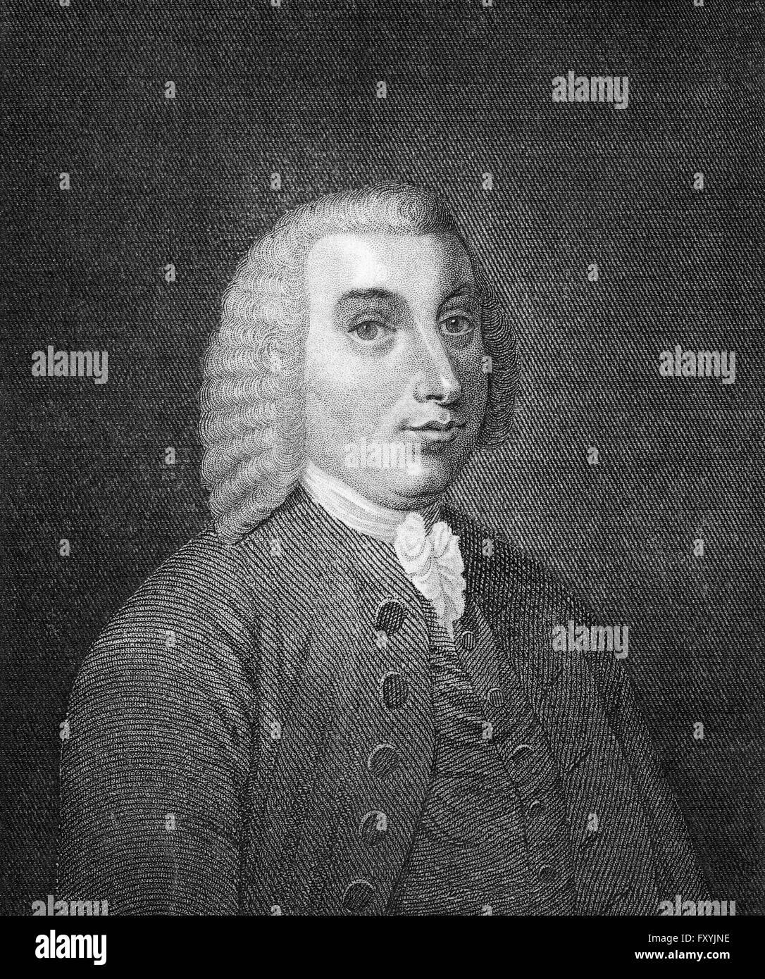 Tobias George Smollett, 1721-1771, a Scottish poet and author, Tobias George Smollett, 1721-1771, ein schottischer - Stock Image