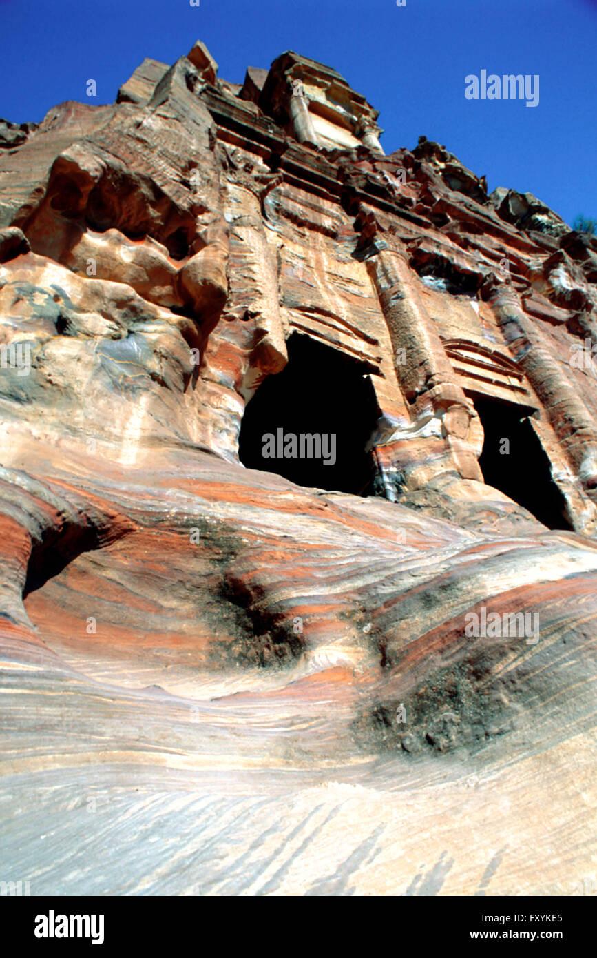 Palace tomb is part of the Royal Tombs, Petra, Jordan. Stock Photo