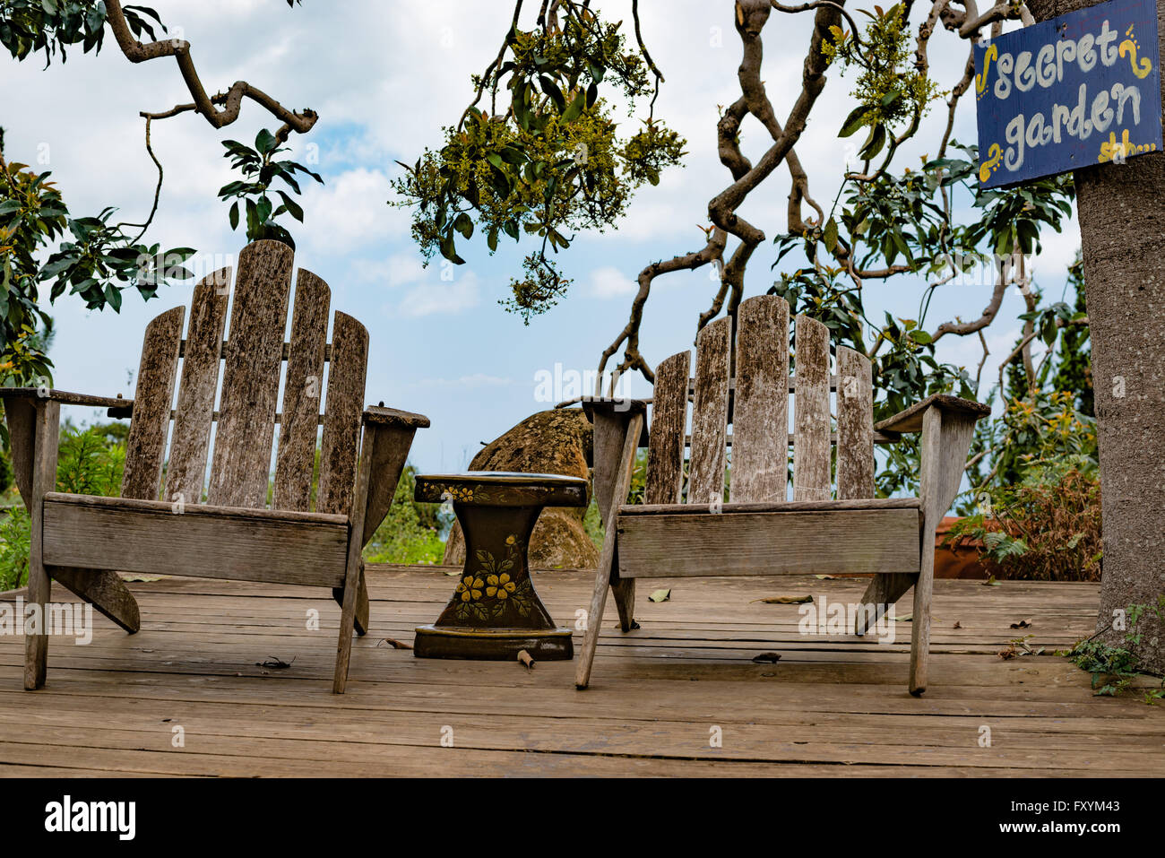 Wondrous A Pair Of Weathered Chairs In A Garden On The Island Of Maui Interior Design Ideas Clesiryabchikinfo