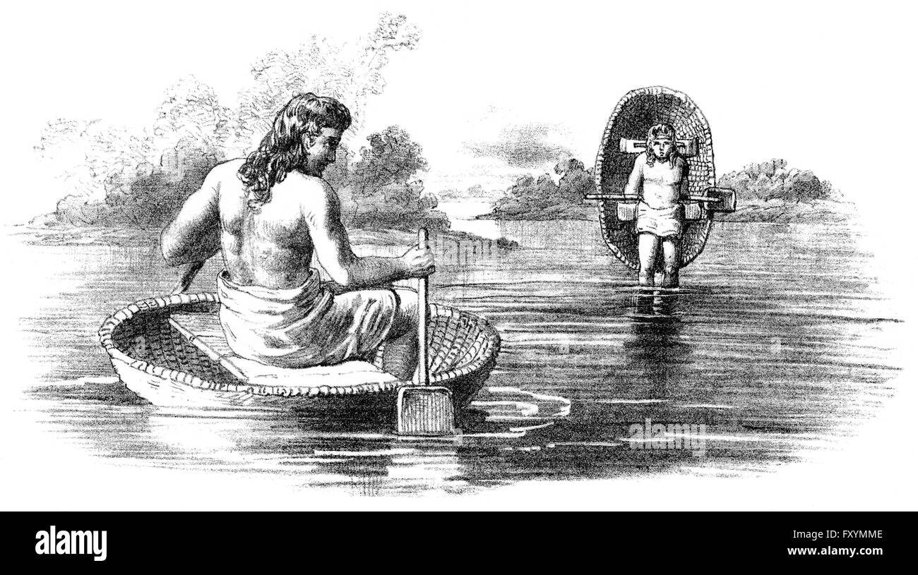 Prehistoric Britons with coracle, small and lightweight boats, first Century BC Stock Photo