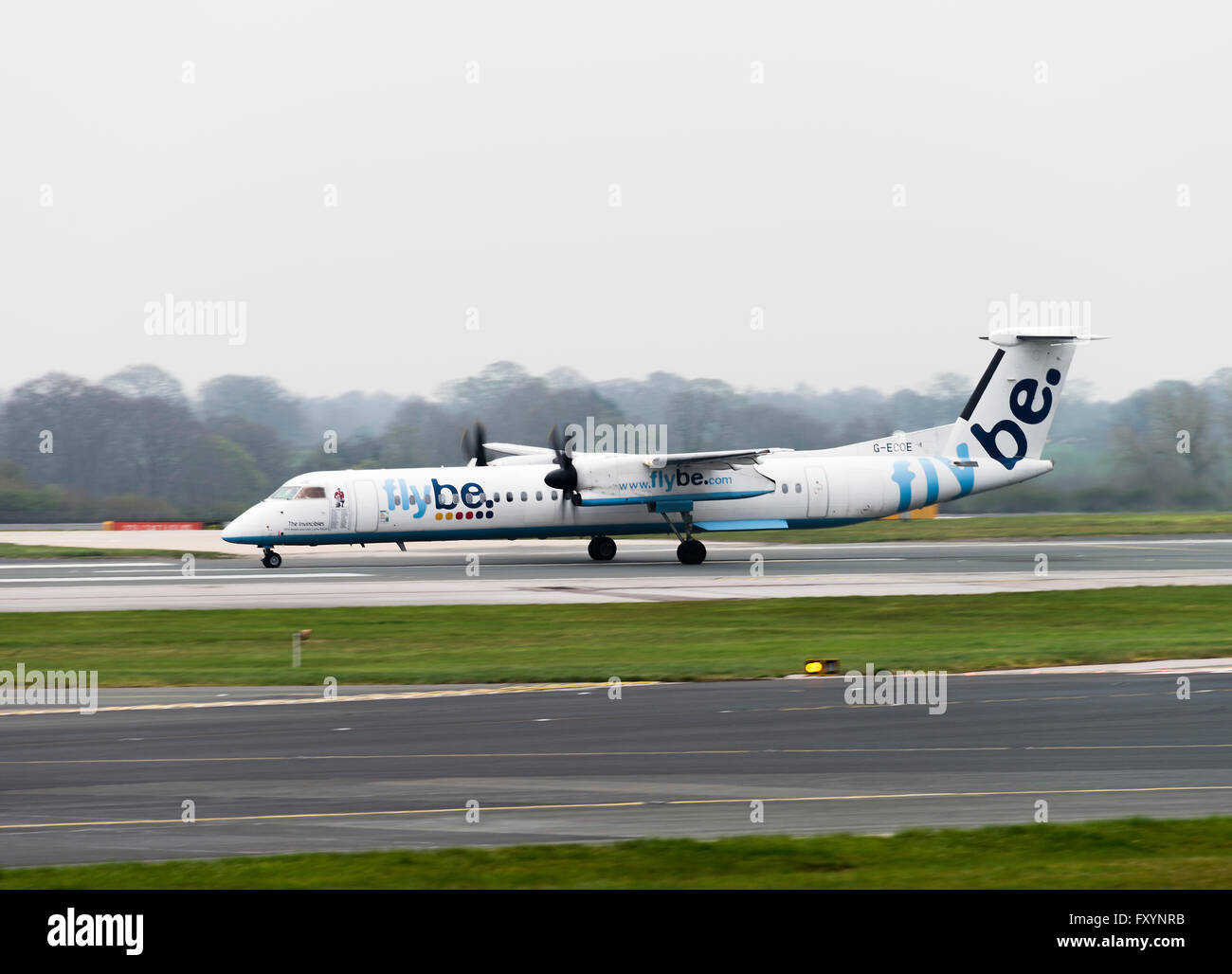 Flybe Airline Bombardier Dash 8-402Q Airliner G-ECOE Taking Off at Manchester International Airport England United - Stock Image
