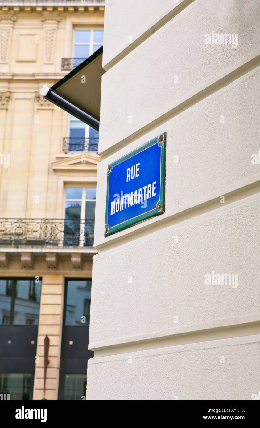 Street sign of the famous Montmartre street , Paris, France - Stock Image