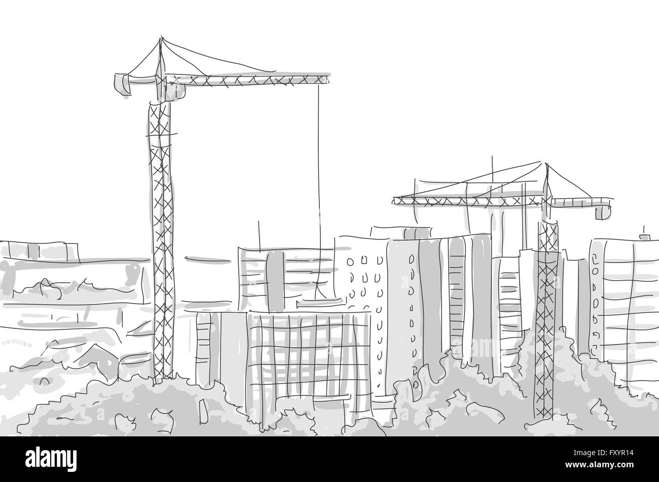 Building construction tower crane draw graphic design for Drawing for house construction in india
