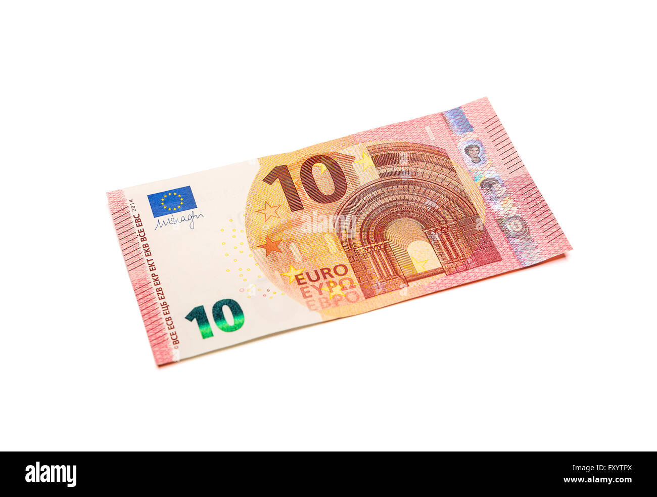 Ten euro banknote isolated on white background with clipping path. - Stock Image