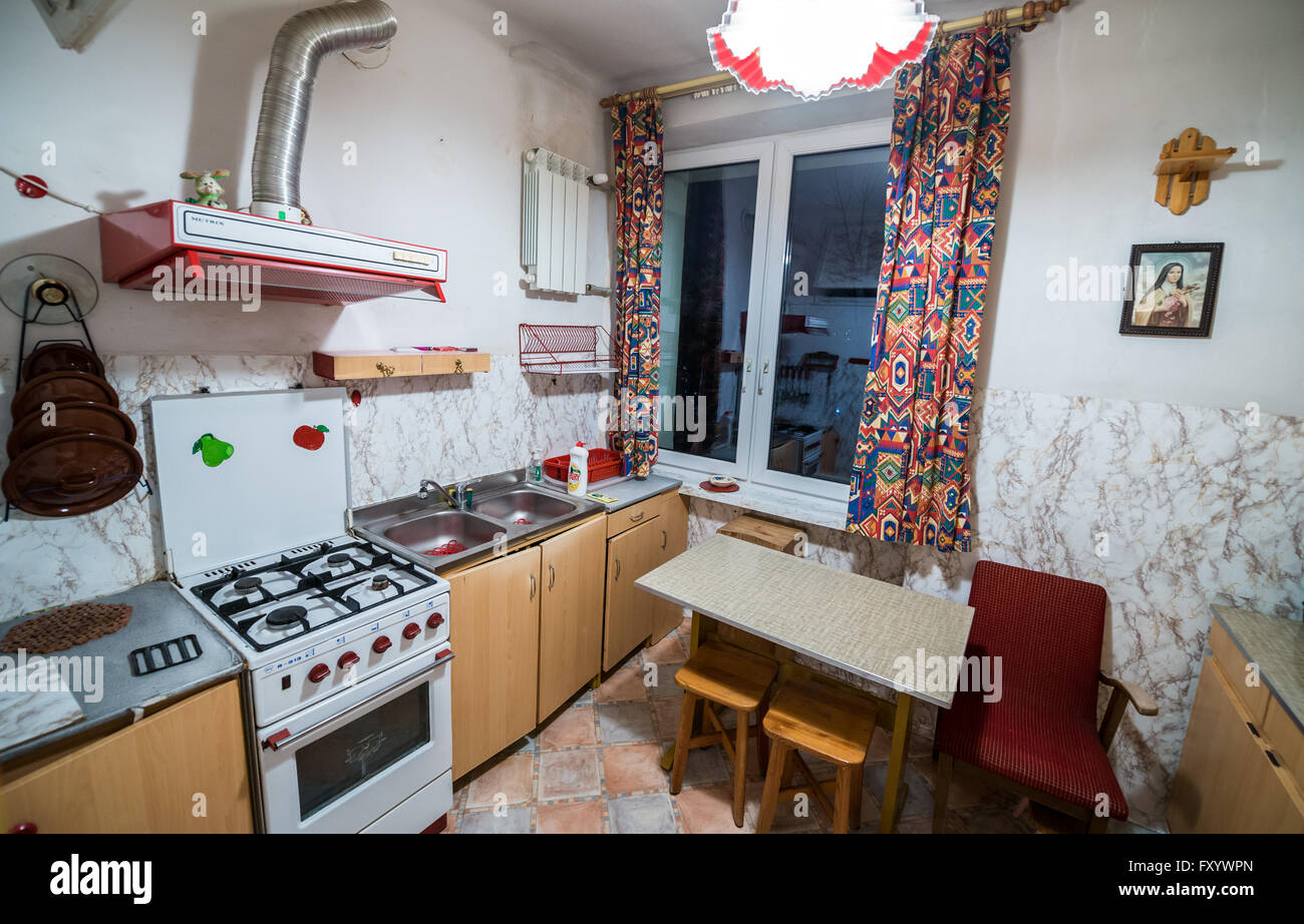 Interior Of The Efficiency Apartment Kitchen Decorated In The Late Eighties  And Nineties In Warsaw, Poland