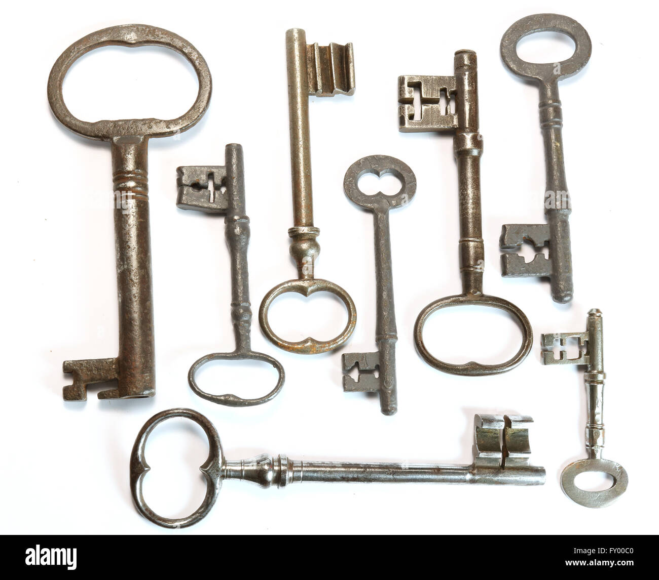 Vintage Antique Keys on white background Stock Photo
