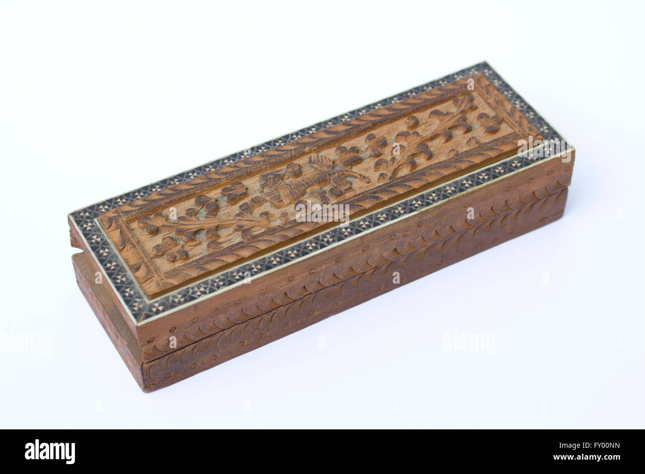 Vintage Small Wooden Box on White Background Stock Photo