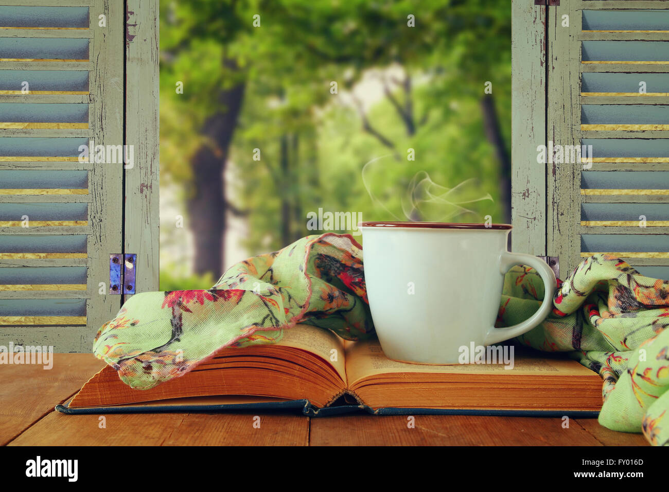 romantic scene of cup of coffee next to old book in front of countryside view outside of the old rustic window. Stock Photo