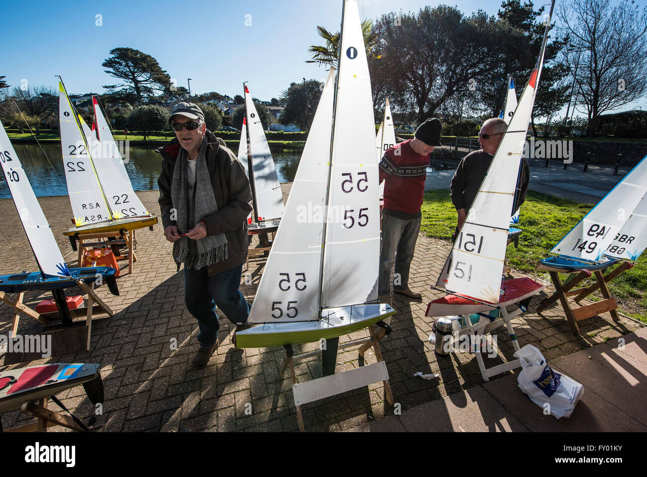 The Newquay Model Yacht Club at Trenance Lake in Newquay, Cornwall. Stock Photo