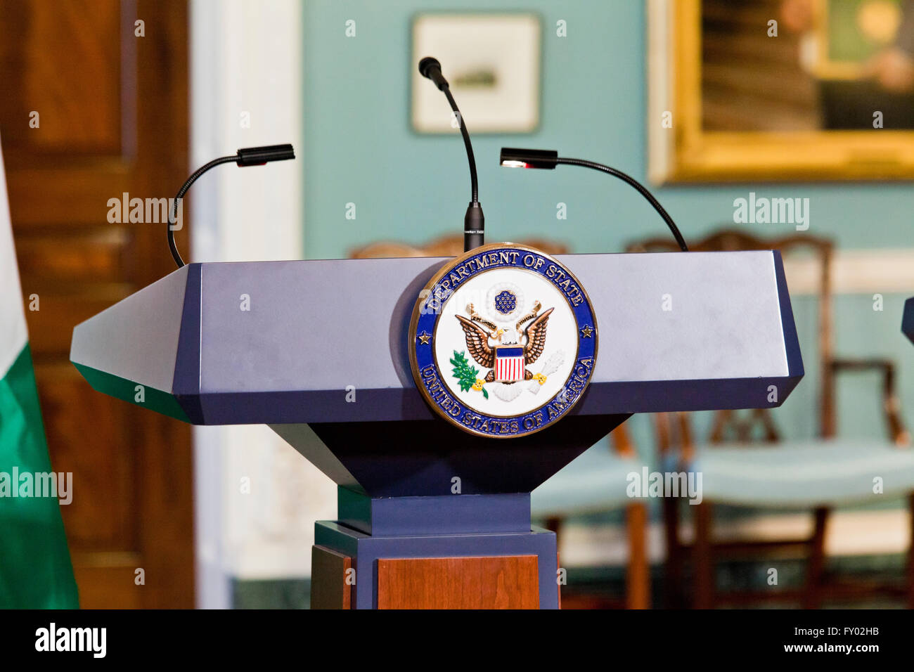 US State Department lectern - USA - Stock Image