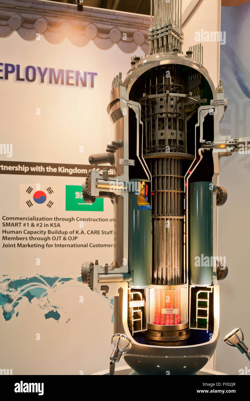 Scale model of nuclear reactor core vessel - Stock Image