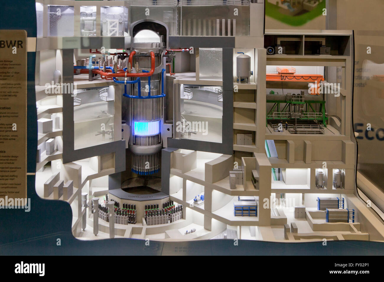 Scale model of GE HItachi nuclear reactor core building (nuclear power plant cross section view) - USA - Stock Image