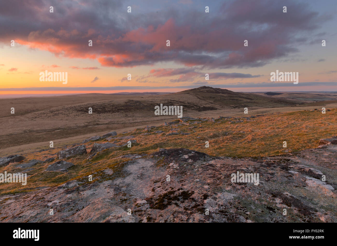 Sunrise from the slopes of Showery Tor on Bodmin Moor Stock Photo
