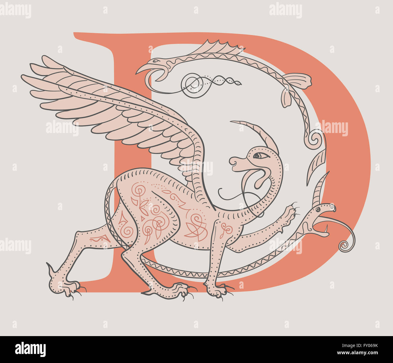 Griffin fantasy monster creature. Medieval style illustration circle decorative composition - Stock Image