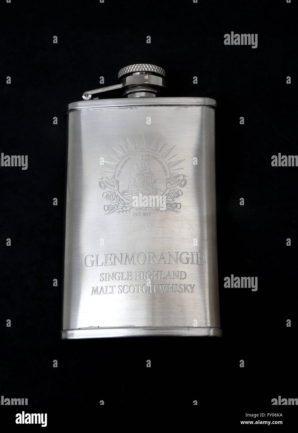 Stainless Steel Glenmorangie Single Highland Malt Scotch Whisky Hip Flask With Engraving Of Sir Walter Scott - Stock Image