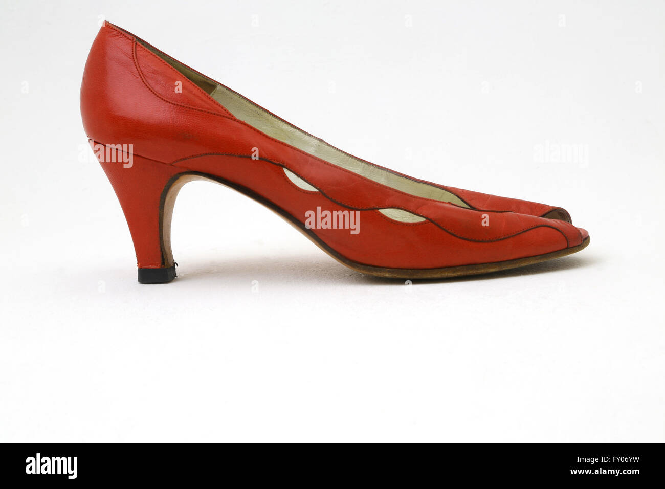 Red Leather Bally Peep Toe Shoe With Kitten Heel - Stock Image