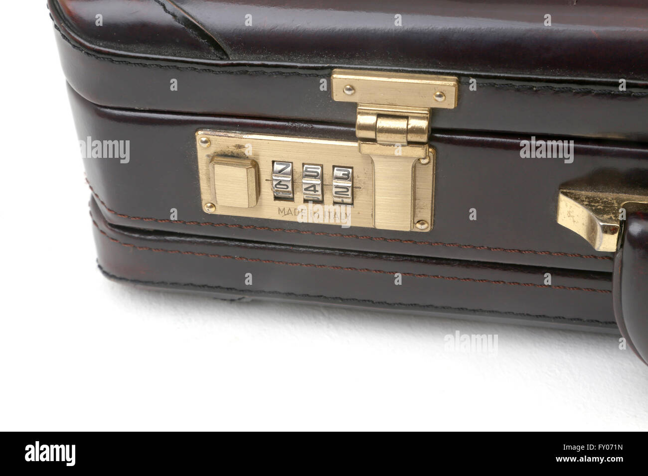 Italian Brown Leather Briefcase With Combination Lock - Stock Image