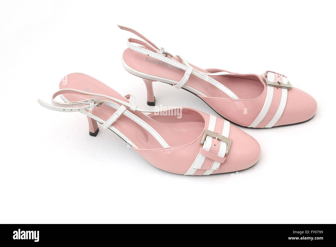 Roberto Venutt Italian Leather Pink And White Kitten Heel Shoes With Buckle - Stock Image