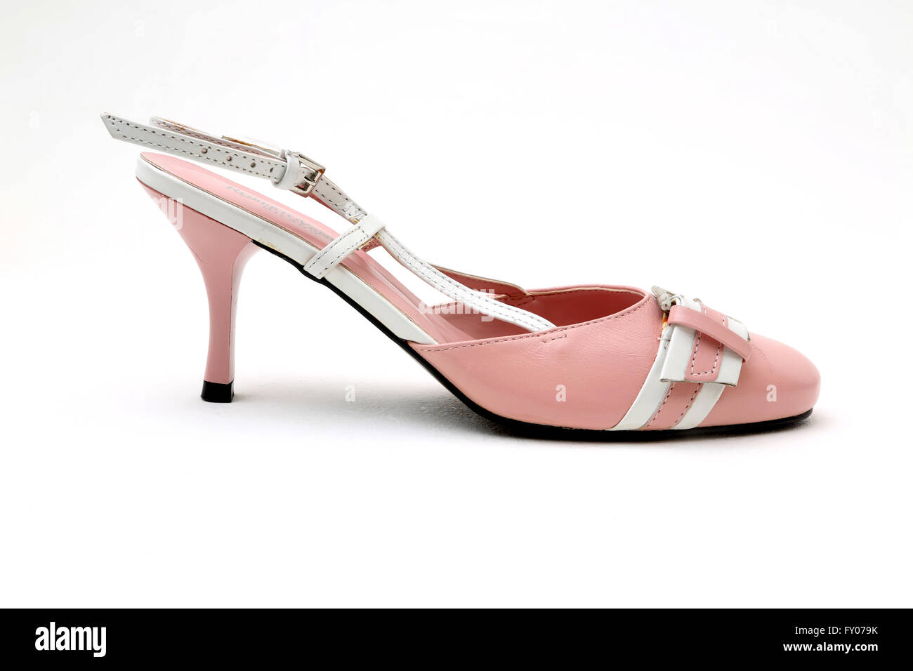 Roberto Venutt Italian Leather Pink And White Kitten Heel Shoe With Buckle - Stock Image