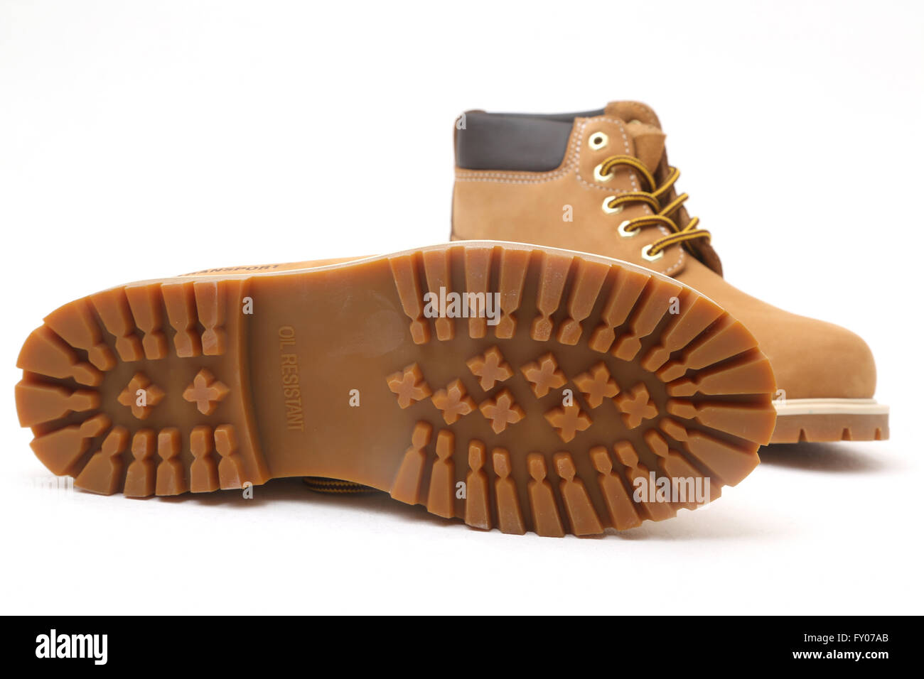 Transport Leather Boots Showing Oil Resistant Tread - Stock Image