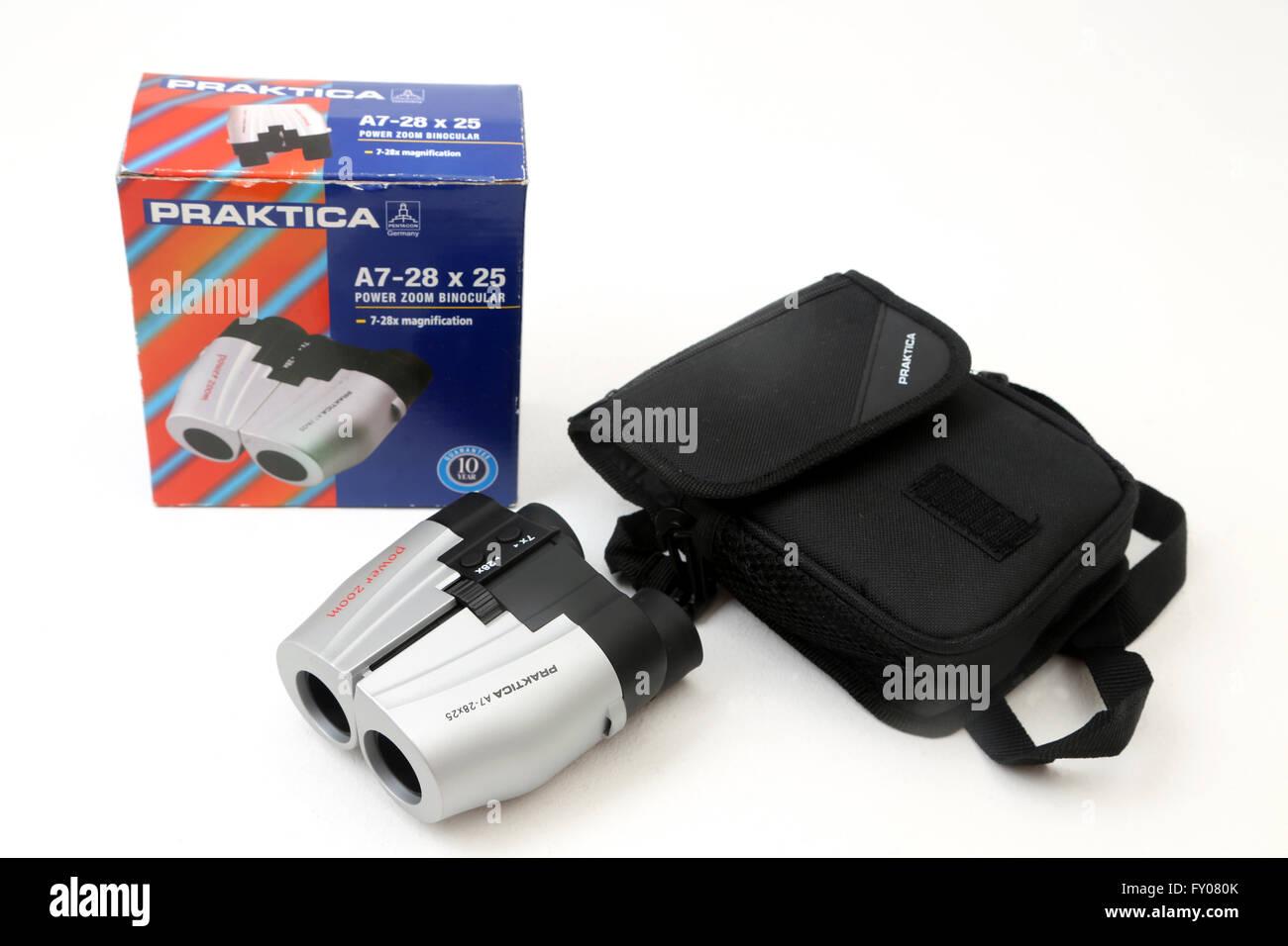 Praktica a power zoom binocular and case stock photo