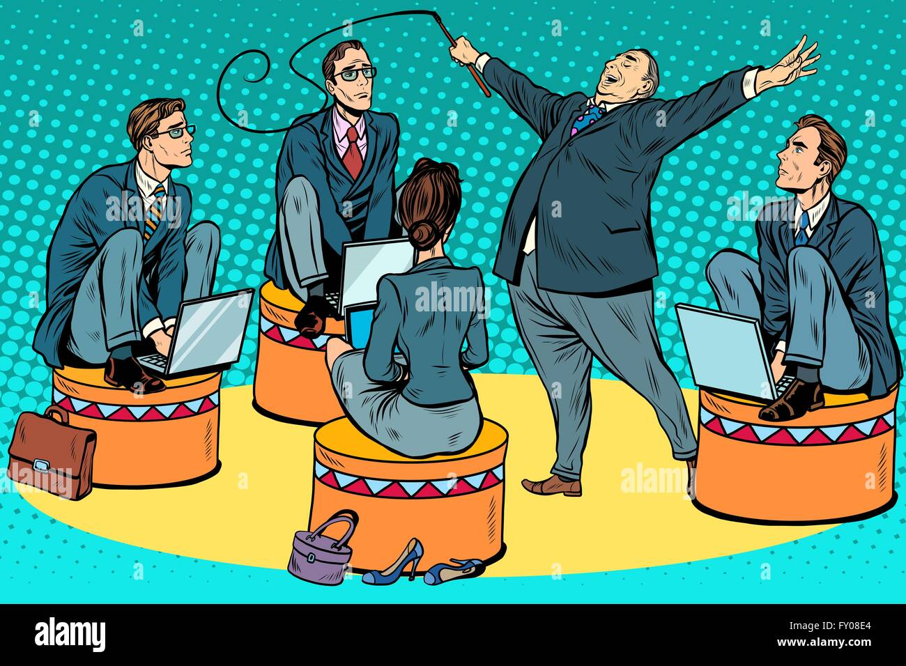 Boss businessmen trainer at the circus - Stock Vector