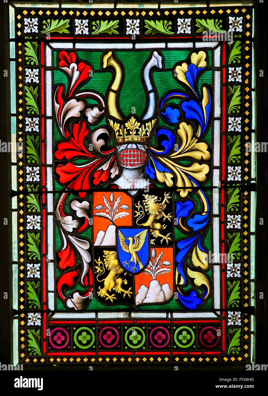 Stained Glass window in St. Vitus Cathedral, Prague, depicting a Coat of Arms - Stock Image