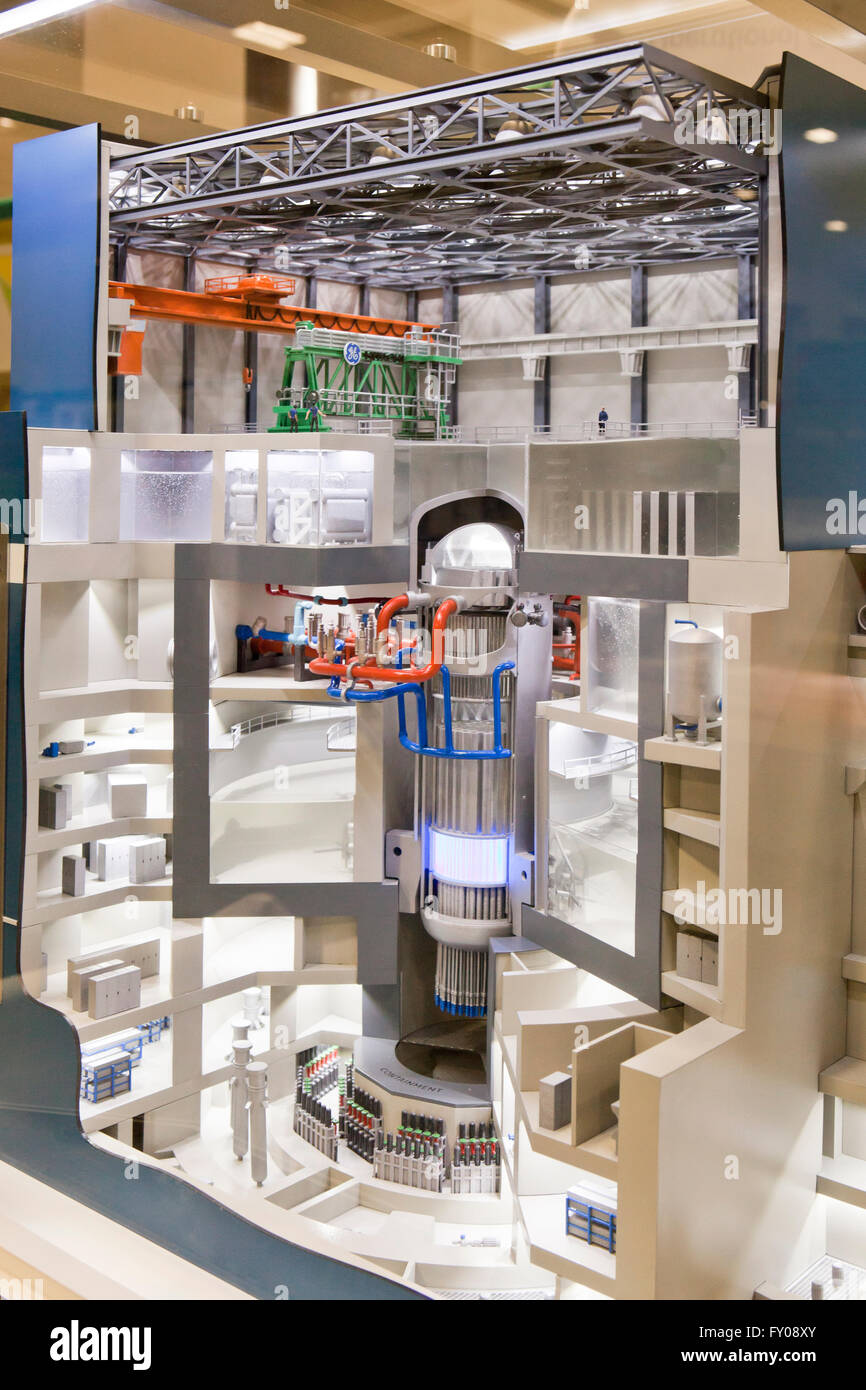 Scale model of GE HItachi nuclear reactor core building - USA - Stock Image