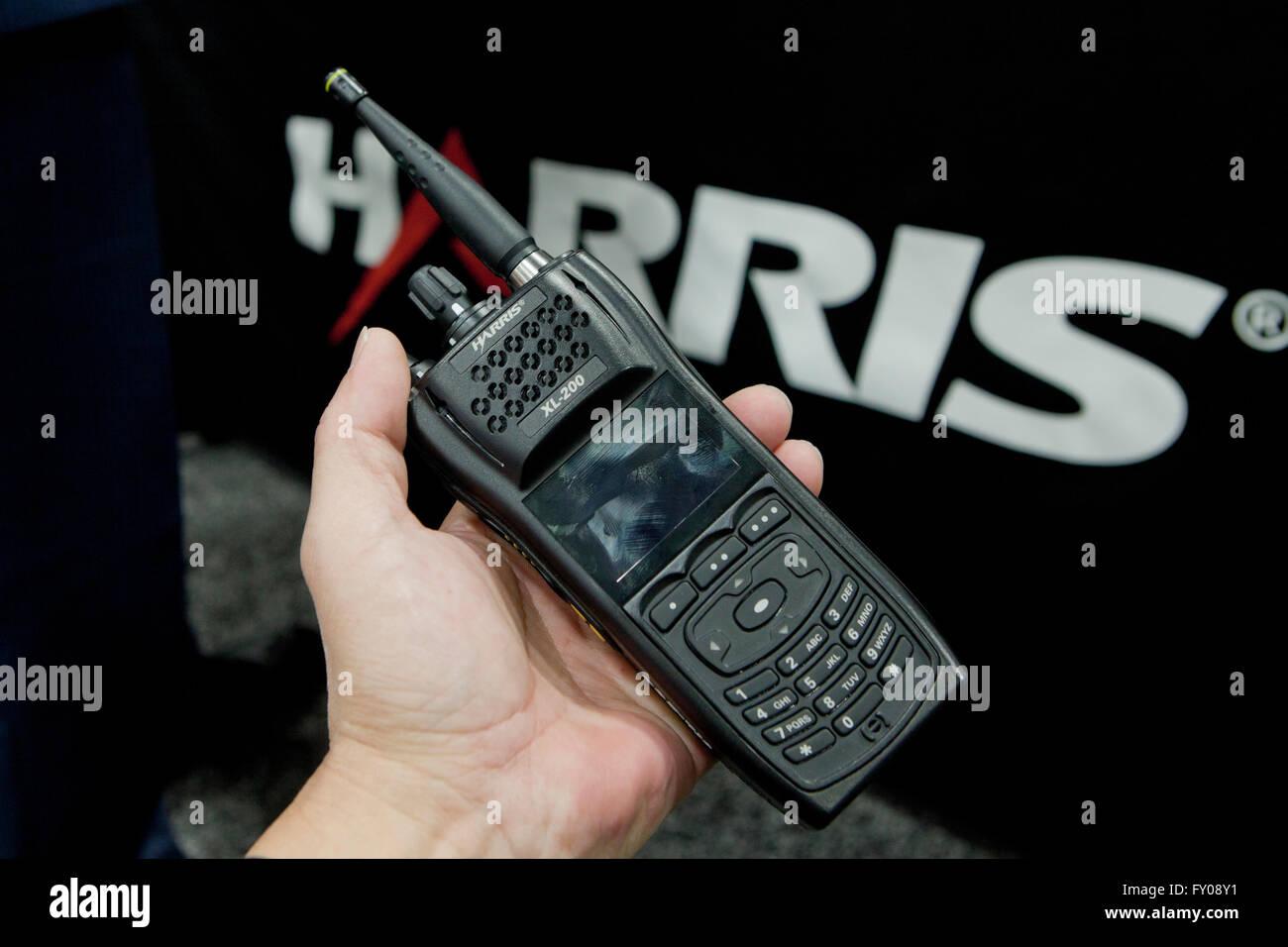 Harris XL-200P handheld radio - USA - Stock Image