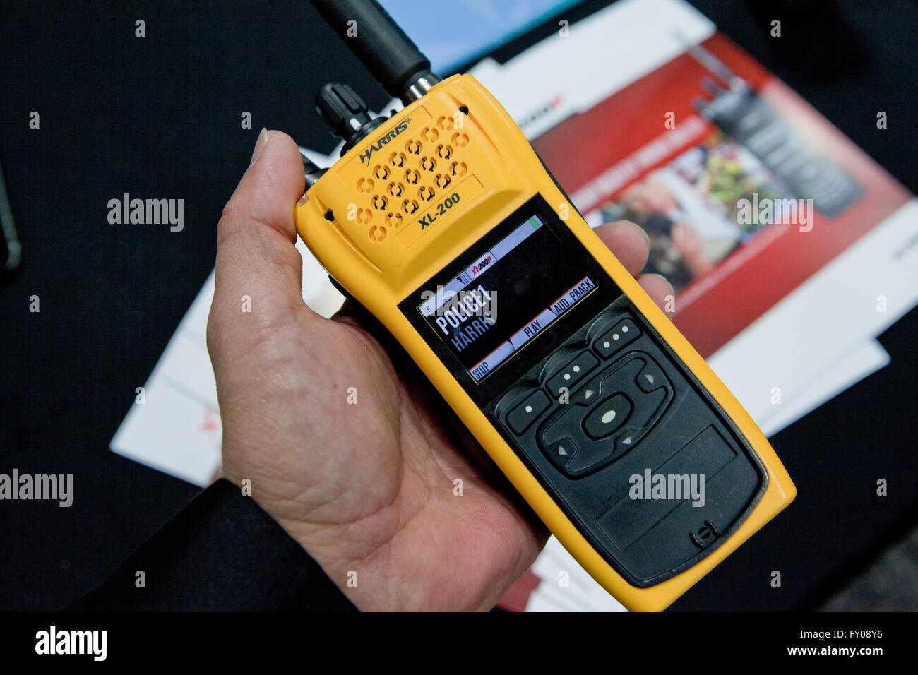 Harris XL-200P handheld radio - USA - Stock Image