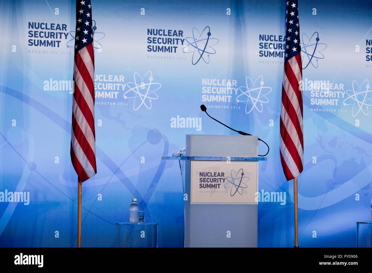 2016 Nuclear Security Summit speaker's lectern - Washington, DC USA - Stock Image