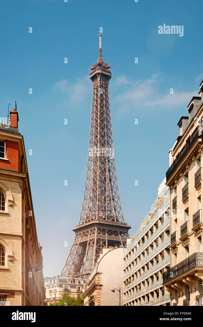 Eiffel Tower viewed from a nearby neighbourhood. - Stock Image