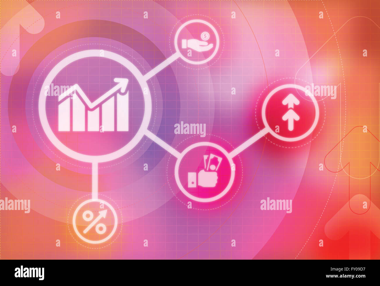 Illustrative image represents the concept of business growth and development - Stock Image