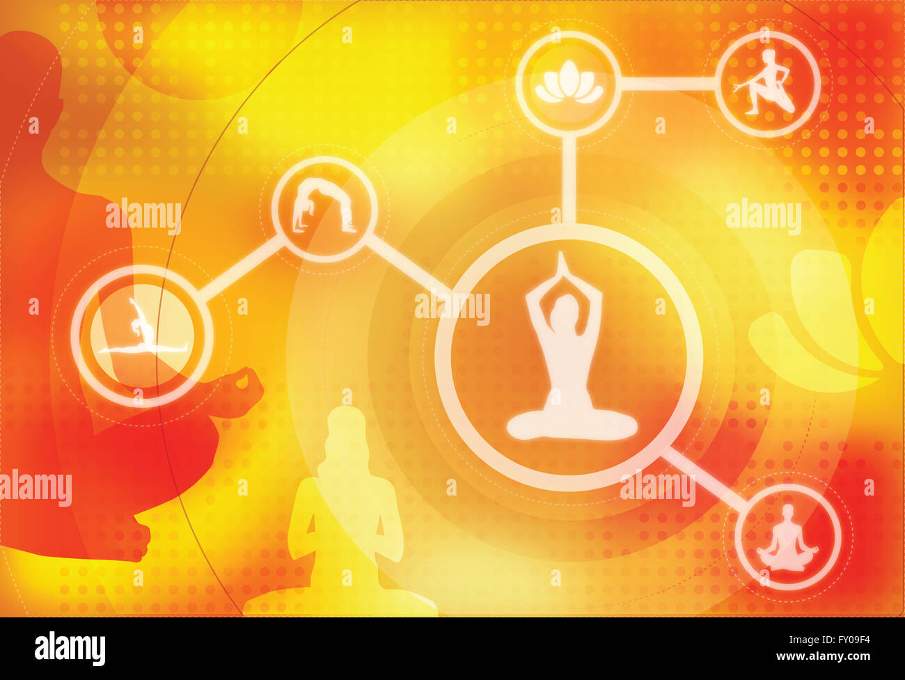 Illustrative of multiple image of different yoga poses - Stock Image
