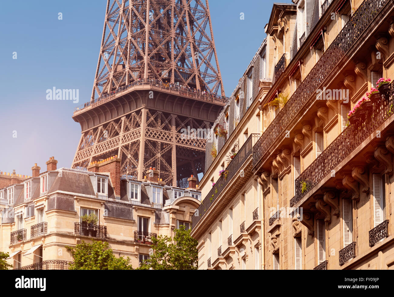 Eiffel Tower viewed from a nearby neighborhood. - Stock Image
