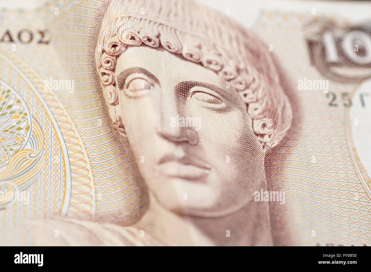 1000 Greek drachma with Apollo image - Stock Image