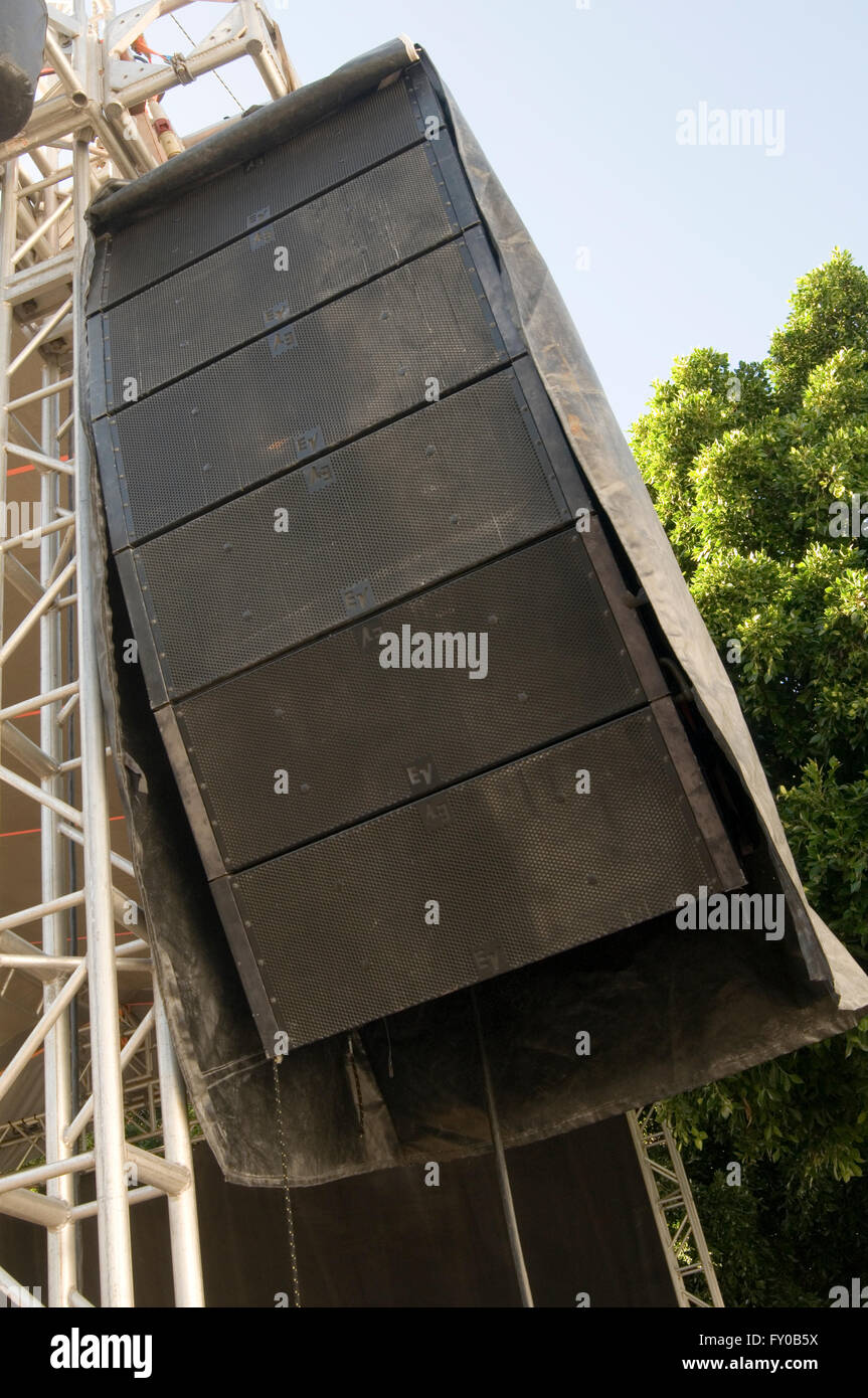 big speaker loud music PA public address sound system systems speakers concert rock music stage stages traveling - Stock Image