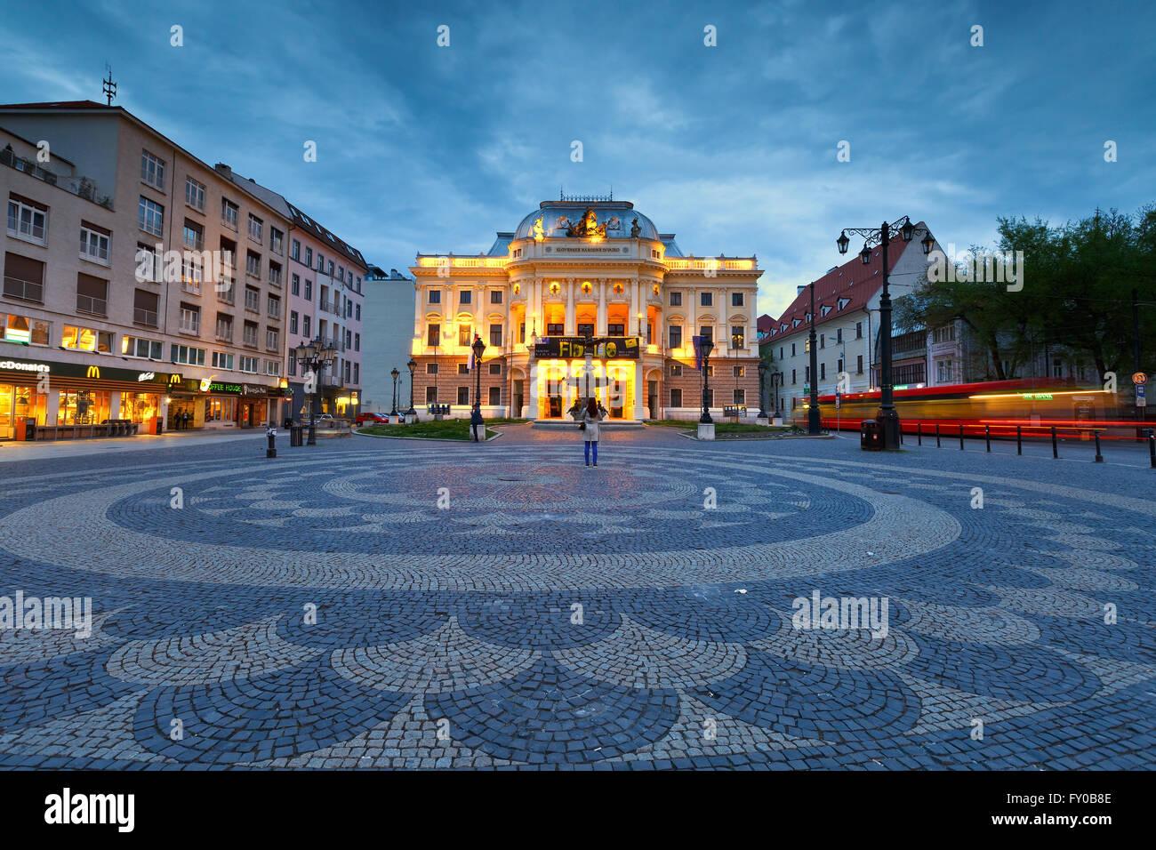 National theatre in Hviezdoslav square in the old town of Bratislava. - Stock Image