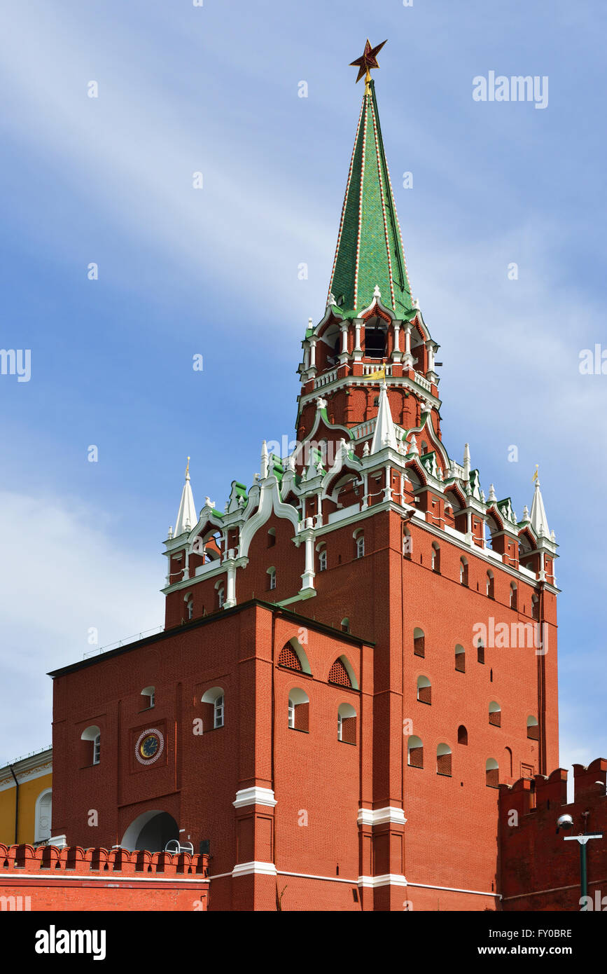 Troitskaya (Trinity) Tower is tower in center of northwestern wall of Moscow Kremlin and was built in 1495 — 1499. - Stock Image