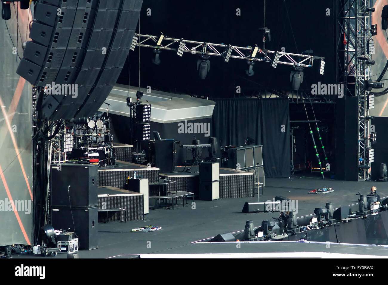 large empty rock concert stage - Stock Image