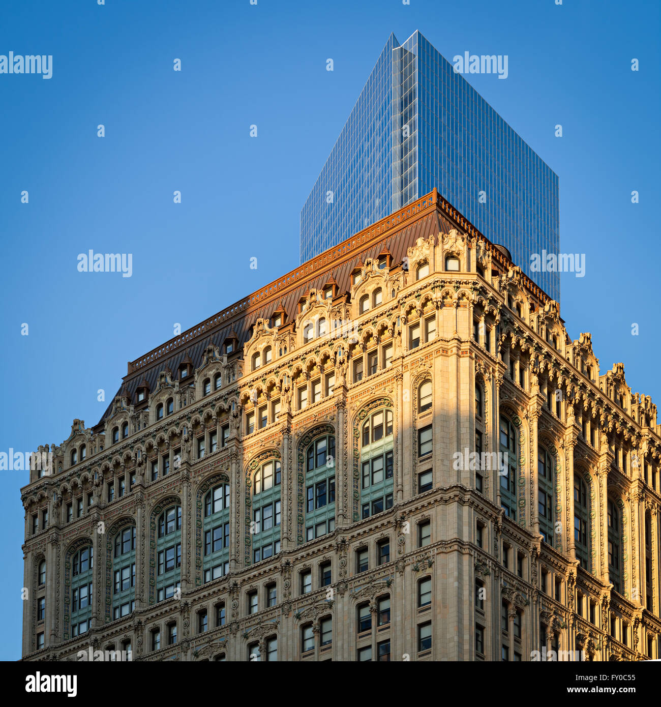 West Street Building at sunset with World Trade Center Tower 4. Manhattan Financial District, New York City - Stock Image