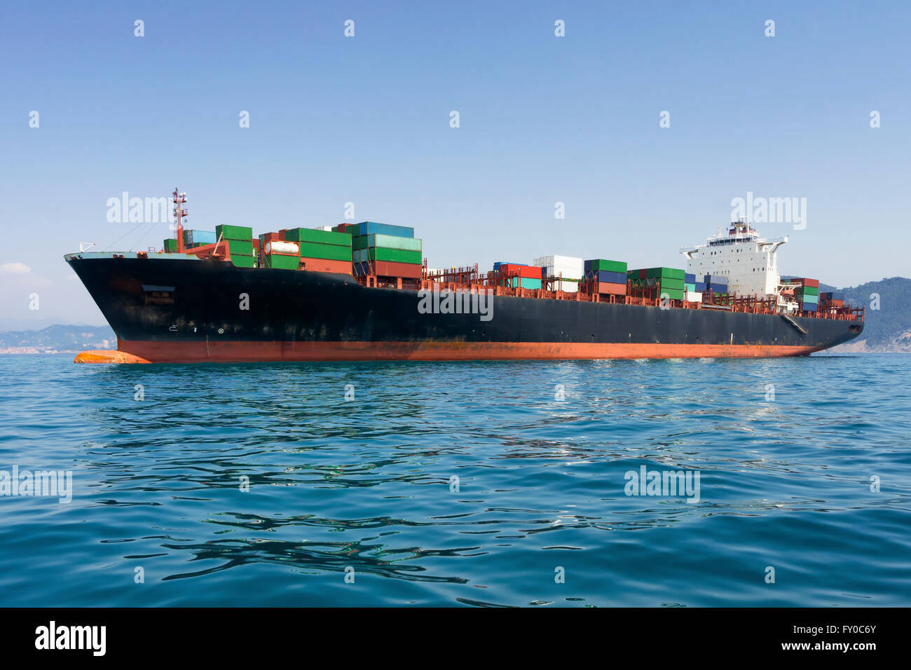 cargo freight, container ship in sea - Stock Image