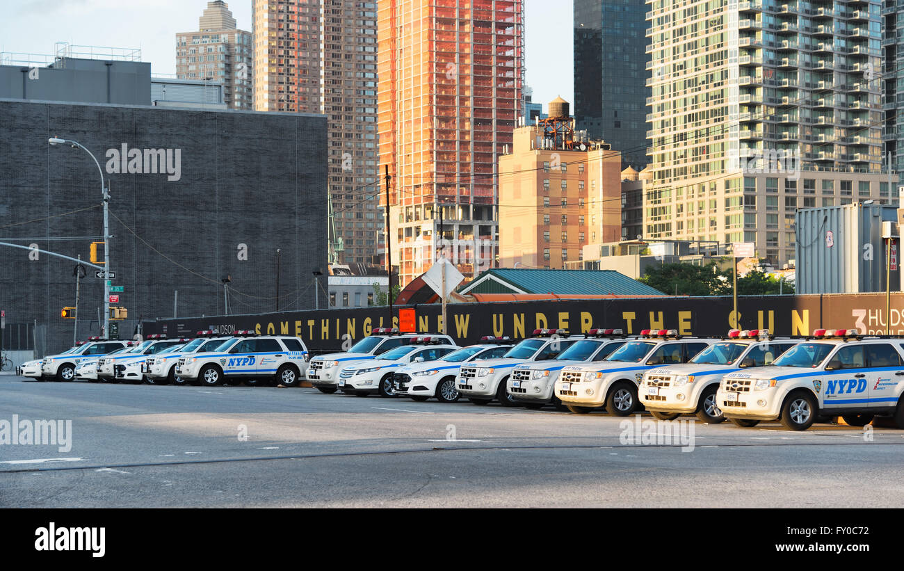 NEW YORK CITY- 17 JUNE, 2015: NYPD cars parked on 11th Ave. Established in 1845, New York City Police Department - Stock Image
